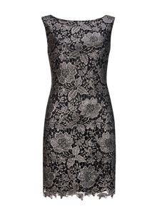 Wallis Pewter Foil Crochet Lace Dress