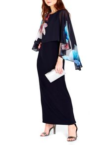 Wallis Navy Floral Overlayer Maxi