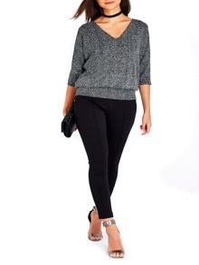 Wallis Petite Sparkle V-Neck Top