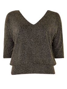 Wallis Petite Gold Sparkle V-Neck Top