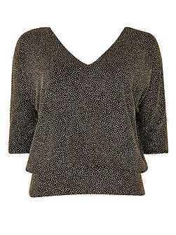 Petite Gold Sparkle V-Neck Top