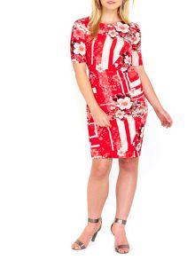 Wallis Red Floral Ruched Side Shift Dress