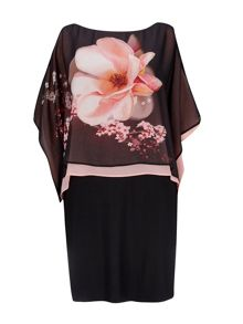 Wallis Black Floral Overlayer Dress