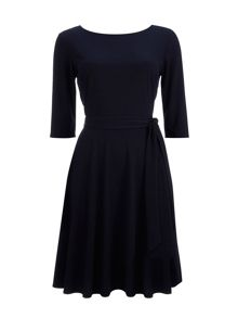 Wallis Navy Tokyo Crepe Fit and Flare Dress