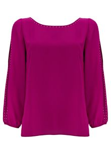 Wallis Petite Fushia Embellished Top