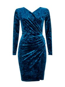 Wallis Teal Crushed Velvet Wrap Dress