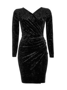 Wallis Black Crushed Velvet Wrap Dress