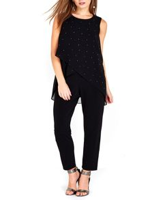 Wallis Petite Black Embellished Overlay Jumpsuit