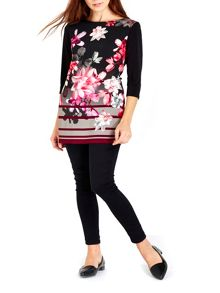 Wallis Black Floral Print Tunic Top