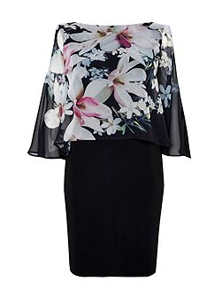 Black Floral Overlayer Dress
