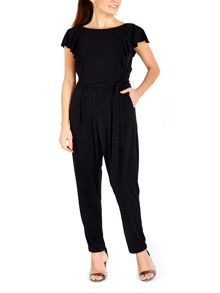 Wallis Black Ruffle Front Jumpsuit