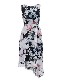Black Floral Hanky Hem Dress