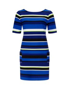 Wallis Blue Stripe Ponte Shift Dress