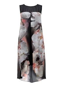 Wallis Black Floral Split Front Dress