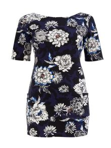 Wallis Navy Floral Ponte Dress