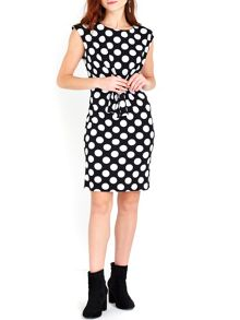 Wallis Monochrome Spot Tie Front Dress