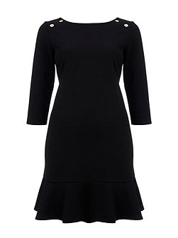 Black Peplum Ponte Dress