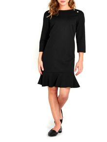 Wallis Black Peplum Ponte Dress