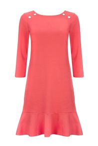 Wallis Coral Peplum Ponte Dress