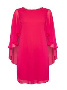 Wallis Pink Cape Sleeve Embellished Dress