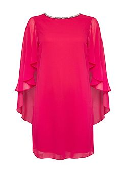 Pink Cape Sleeve Embellished Dress