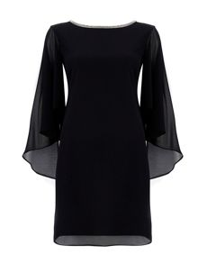 Wallis Black Embellished Cape Sleeve Dress