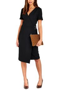 Wallis Black Textured Wrap Dress