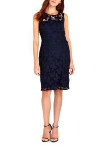 Wallis Navy Butterfly Crochet Dress