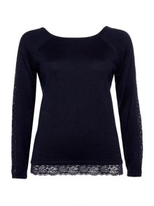Wallis Navy Lace Hem Jumper