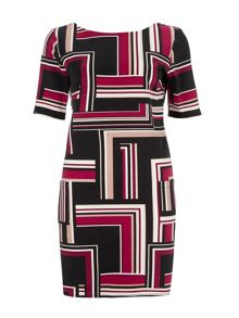 Wallis Berry Stripe Printed Dress
