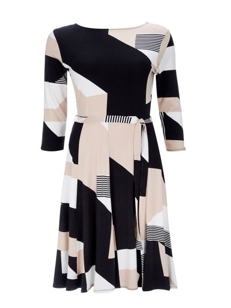 Wallis Stone Geo Fit And Flare Dress