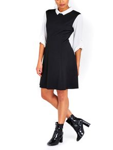 Wallis Black Collar Fit and Flare Dress