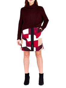 Wallis Berry Colour Block Skirt