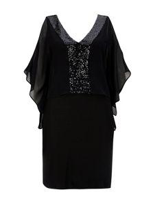 Wallis Black Sequin Over Layer Dress