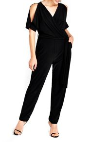 Wallis Black Split Sleeve Jumpsuit