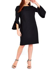 Wallis Black Flute Sleeve Dress