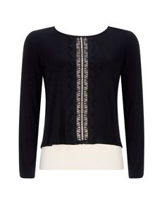Wallis Petite Black Lace Layered Top