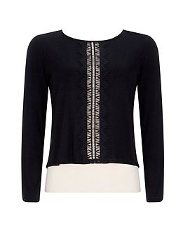 Petite Black Lace Layered Top