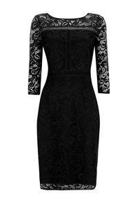 Wallis Black Panelled Lace Shift Drss