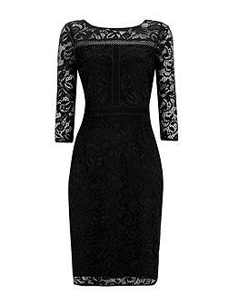 Black Panelled Lace Shift Drss