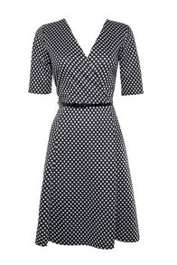 Wallis Monochrome Spot Belted Wrap