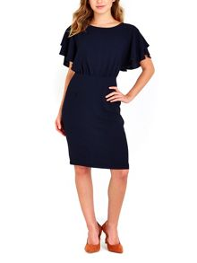 Wallis Navy Frill Sleeve Dress