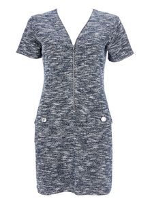 Wallis Navy Marl Zip Front Dress