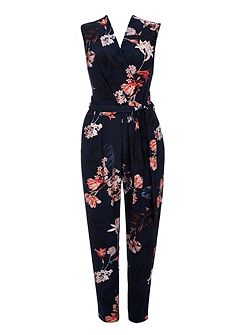 Navy Blossom Wrap Jumpsuit