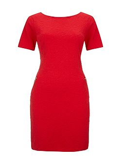 Red Textured Ponte Dress