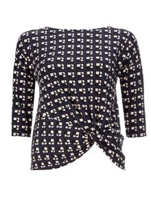 Wallis Petite Navy Cube Twist Top