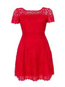 Wallis Red Crochet Lace Dress
