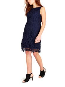 Wallis Navy Floral Crochet Lace Dress