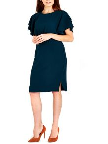 Wallis Teal Frill Sleeve Dress