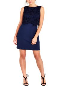 Wallis Petite Navy Lace Top Dress